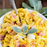 Pumpkin Pasta and Bacon in a Cream Sage Sauce