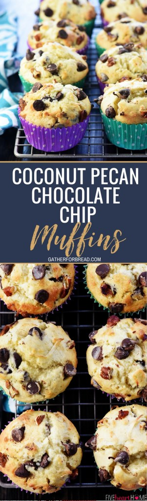 Coconut Pecan Chocolate Chip Muffins - Soft, tender, and full of flavor and texture from chewy coconut, crunchy pecans, and sweet chocolate chips. Perfect for breakfast or as a snack time treat!
