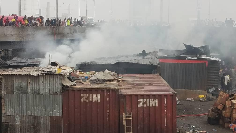 Headline: Fire guts Apongbon market in Lagos