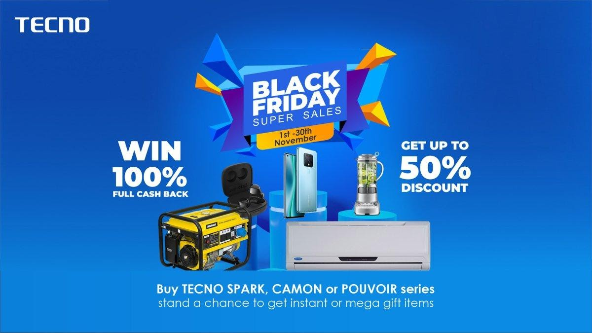 TECNO Black Friday Sales: Win air conditioner, fridge, 100 percent discounts