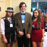 A nice Eleventh Doctor cosplay group at MystiCon 2013: Amy, Eleven, and Oswin.