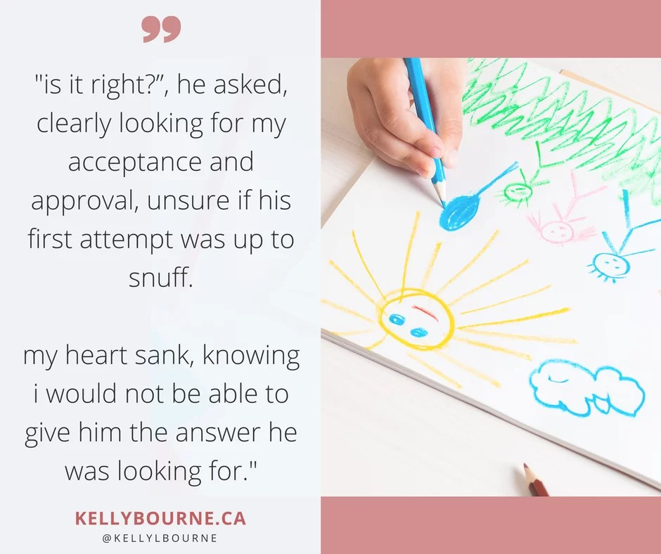 """Is it right?"", he asked, clearly looking for my acceptance and approval, unsure if his first attempt was up to snuff. My heart sank, knowing I would not be able to give him the answer he was looking for. read more at http://gator4017.temp.domains/~kellybourne/creative-conundrum"