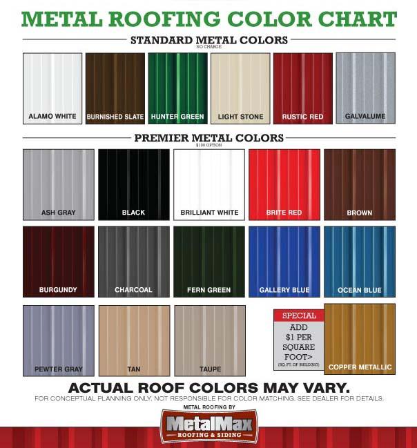 Metal Roofing Color Chart Portable Buildings Gatorback