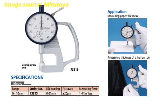 application of dial thickness gauge