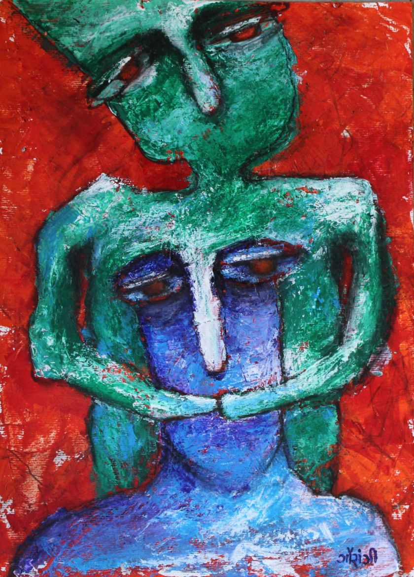 Title: Listen to your voice Medium: Acrylic and charcoal on canvas Size: 11.7*16.5 inches / 29.7*41.91 cm (2018) Artist: gaurangi mehta shah