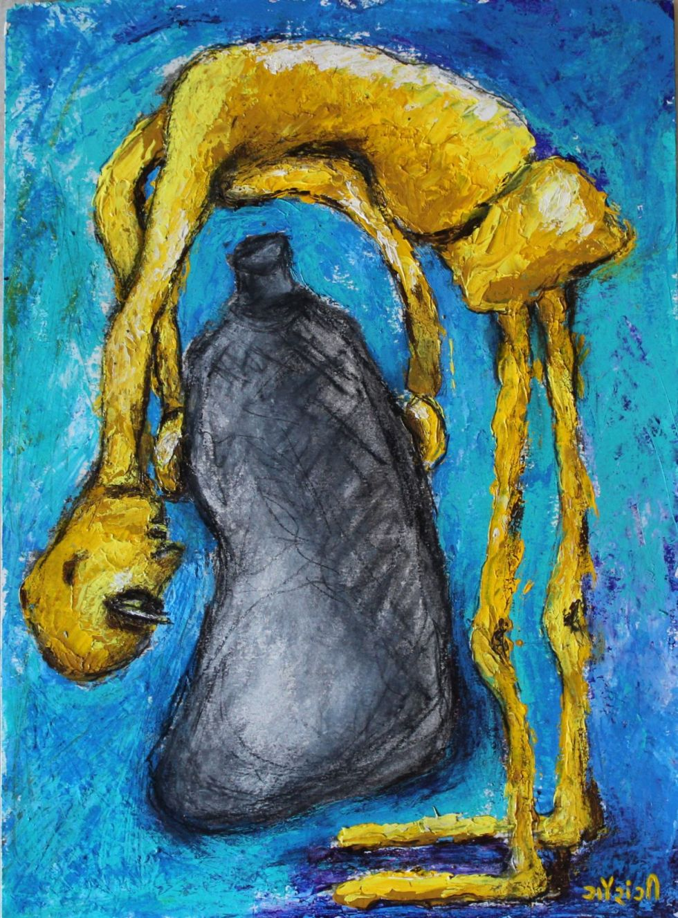 Title: Seeking, searching, inquiring Medium: Acrylic and charcoal on watercolour paper Size: 11.7*16.5 inches / 29.7*41.91 cm (2018) Artist: gaurangi mehta shah