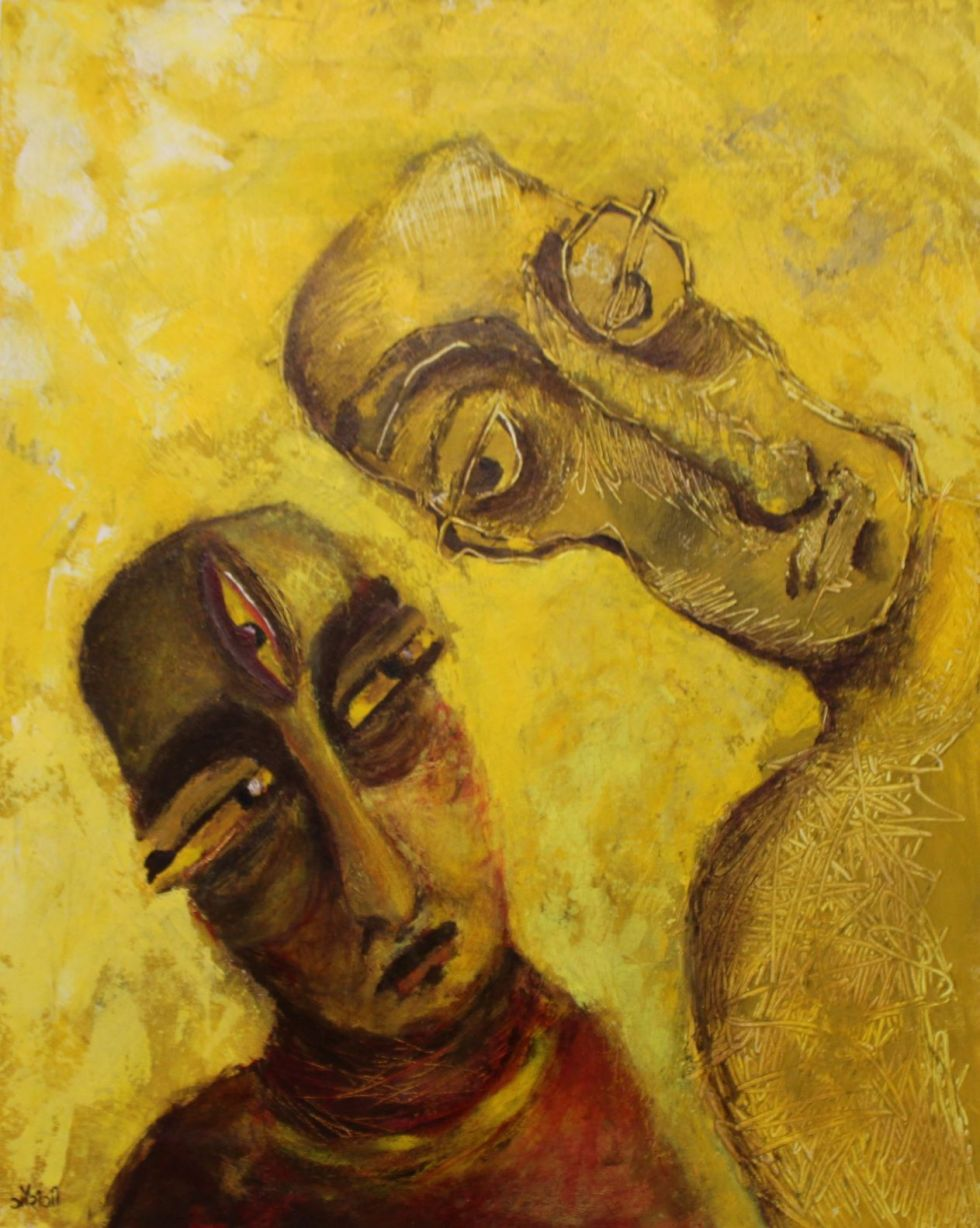 Title: The leering gaze Medium: Acrylic and charcoal on canvas Size: 24*30 inches / 60.96*76.2 cm (2018) Artist: gaurangi mehta shah