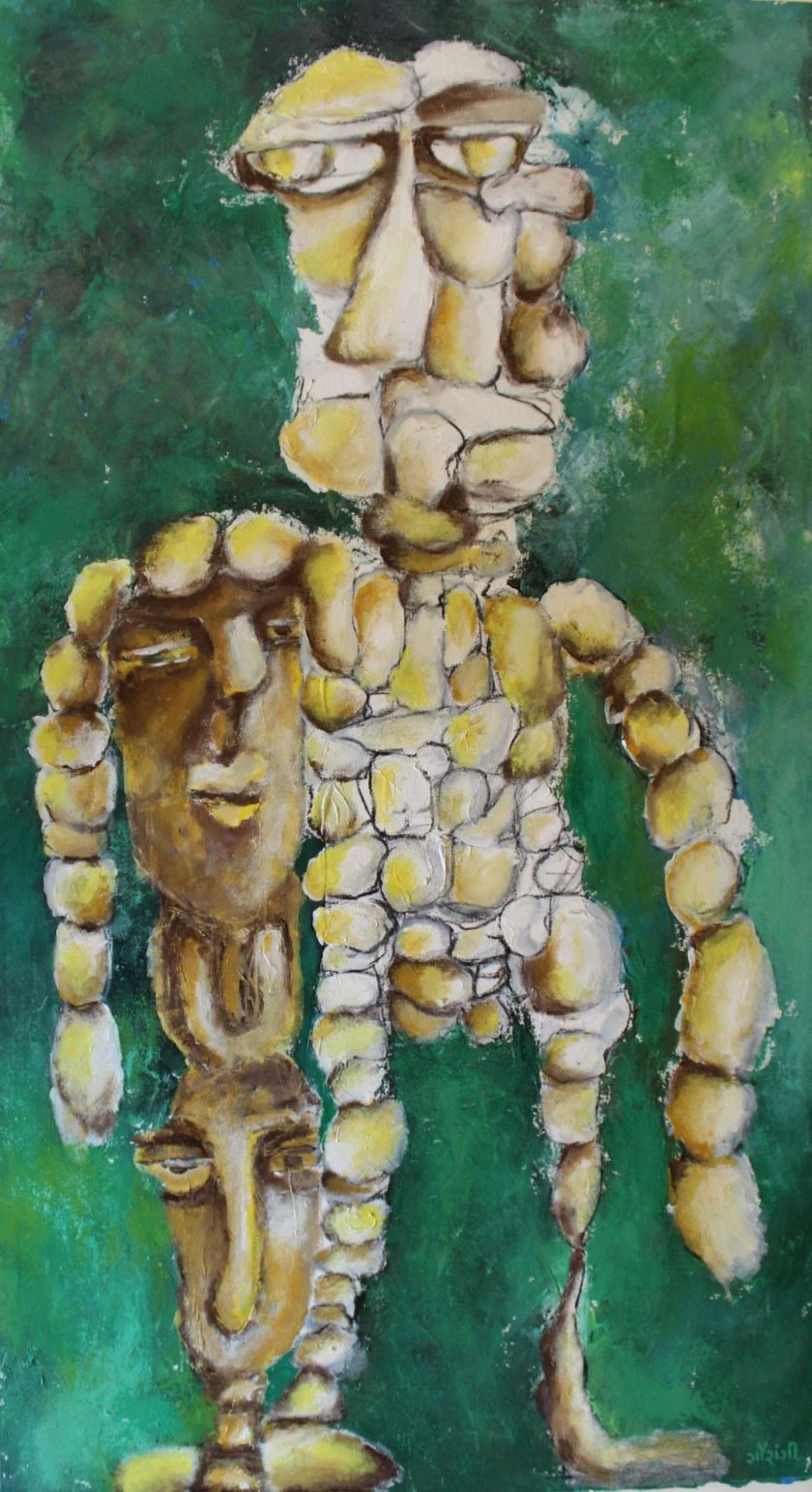 Title: The need for validation is distressing Medium: Acrylic and charcoal on canvas Size: 23.5 * 43.5 inches / 23.5*110.49 cm (2018) Artist: gaurangi mehta shah