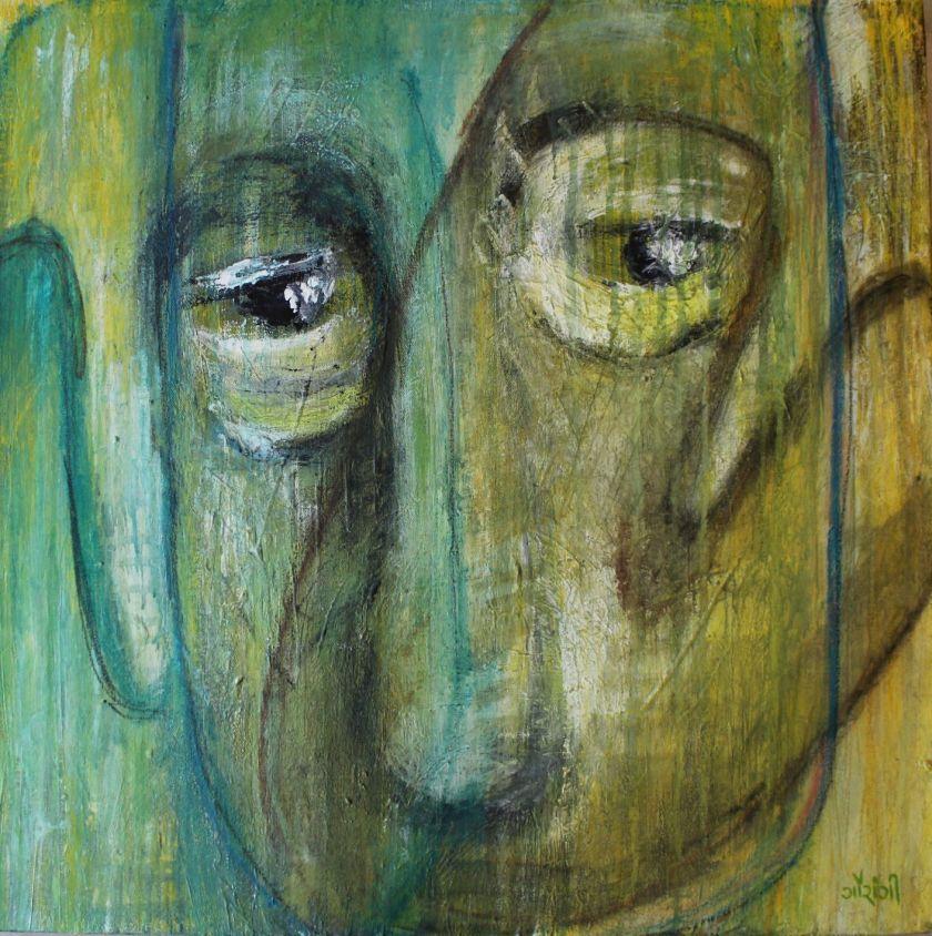 Title: Vanishing identities Medium: Acrylic and watercolour crayons on canvas Size: 24*24 inches / 60.96*60.96 cm (2018) Artist: gaurangi mehta shah