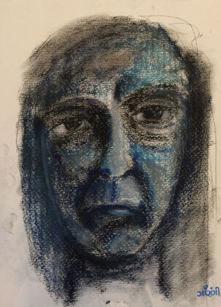 Self-portrait. Medium: Pastels, charcoal and acrylic on watercolour paper. Size: 11.7*16.5 inches (2017). Artist: gaurangi mehta shah