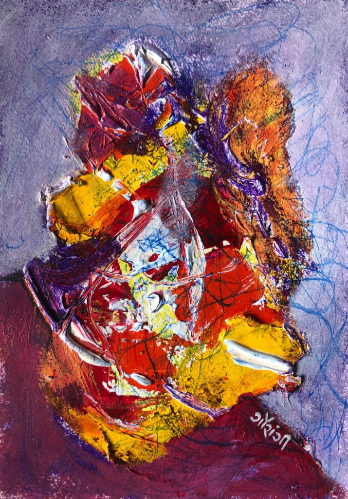 Title: Angst. Medium: acrylic on watercolour paper. Size: 5.8*8.3 inches, (2020). Artist: gaurangi mehta shah.