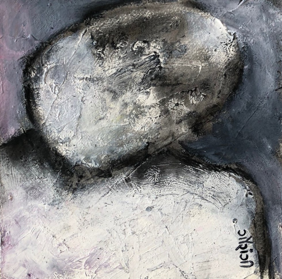 Title: I tilt my head to savour the moment. Medium: acrylic with charcoal on watercolour paper. Size: 5*5 inches (2021) Artist: gaurangi mehta shah Mini-series: lost and found
