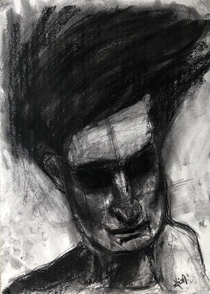 Title: traces of a desire. Material: charcoal and acrylic on watercolour paper. Size: 16*11.5 inches, (2017). Artist: gaurangi mehta shah