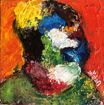 Title: gamut of emotions. Medium: acrylic and oil sticks on board. Size: 5*5 inches, (2021). Artist: gaurangi mehta shah. Series: hiding behind my inner walls