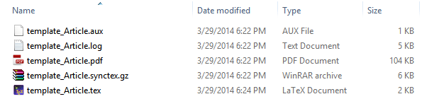 Five files, when you start creating a document from an article template