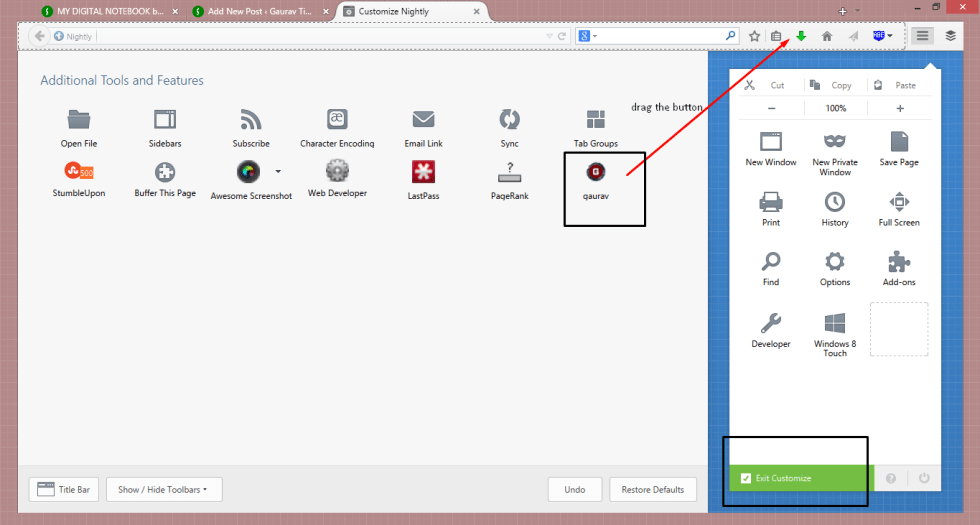 how to put the toolbar button into toolbar