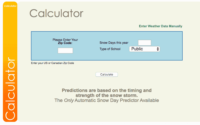 Using the Snow Day Calculators www.snowdaycalculator.com