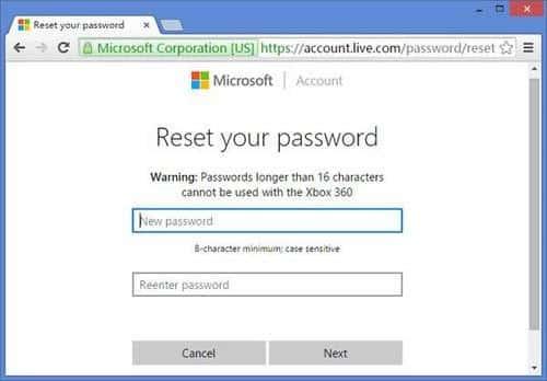 reset Microsoft account password to unlock Lenovo