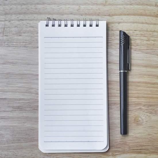 notebook, pen, the work