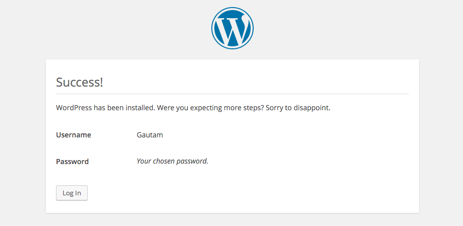 Install success WordPress