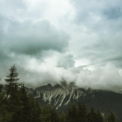 Mountain in rain