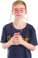 Briller som også er et svært langt sugerør Image