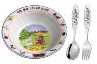 Lille lam Grøtskål med skje og gaffel Image