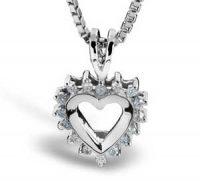 Smykke i hvitt gull med hjerteformet anheng med diamanter Image