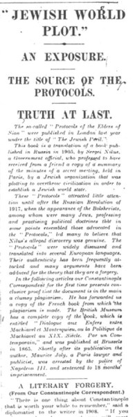 London Times artigo Protocolos dos Sábios de Sião falsos