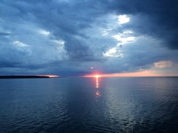 June 28 Sunrise as we leave Stockton Island
