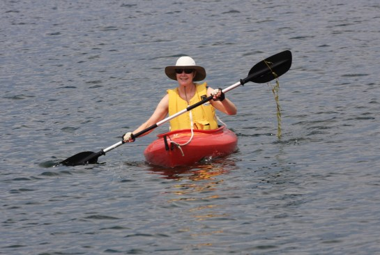July 29 Julie in a kayak (with salad)