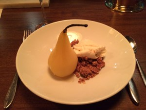 Poached Pear with Vanilla Parsnip Ice Cream