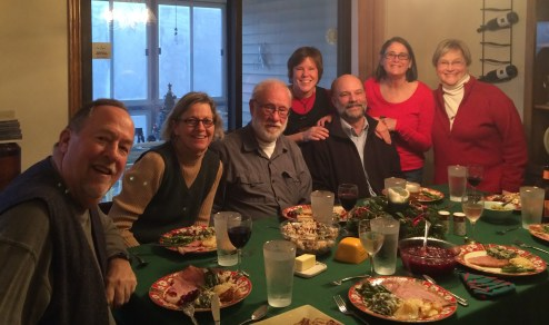 December 25 Christmas Day at Vicki's with Tom, Rose, Larry, Vicki, Paul, Vicki and Judy