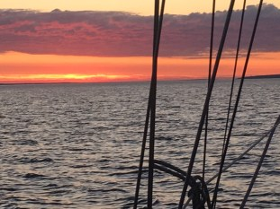 June 21 Sunrise as we depart Bayfield, WI Lake Superior