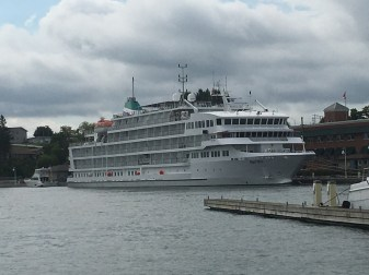 August 25 Cruise ship in Little Current; there goes the neighborhood!