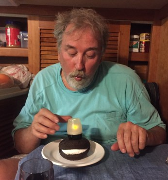 June 12 Dan's Birthday with a Whoopie Pie and candle, compliments of Anne S.