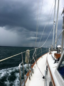 July 10 Threatening skies ahead on our first day on Lake Erie