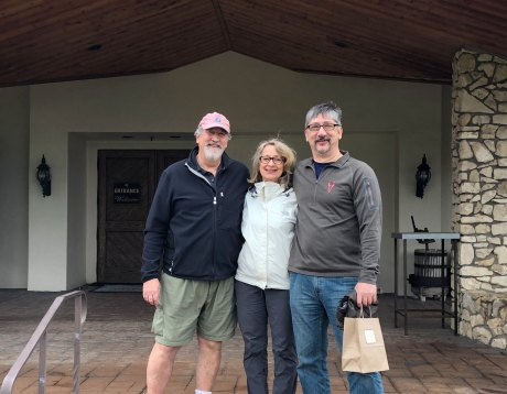 Feb 3 Dan, Jeanne, and Mark at Fess Parker Vineyard