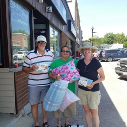 Aug 11 Giving the donations to Bleu Fisher of Rainbow Rescue