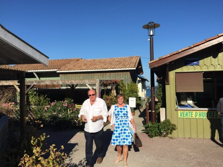 David and Fiona after a visit to an oyster shack, near Cap Ferret.