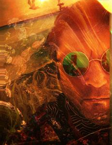 photographic self portrait overlaid in golden swirls