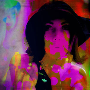 photograph portrait of Hollyanne overlaid with psychedelic light show