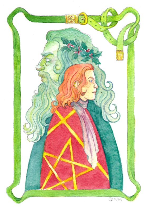 Sir Gawain and the Green Knight watercolour card