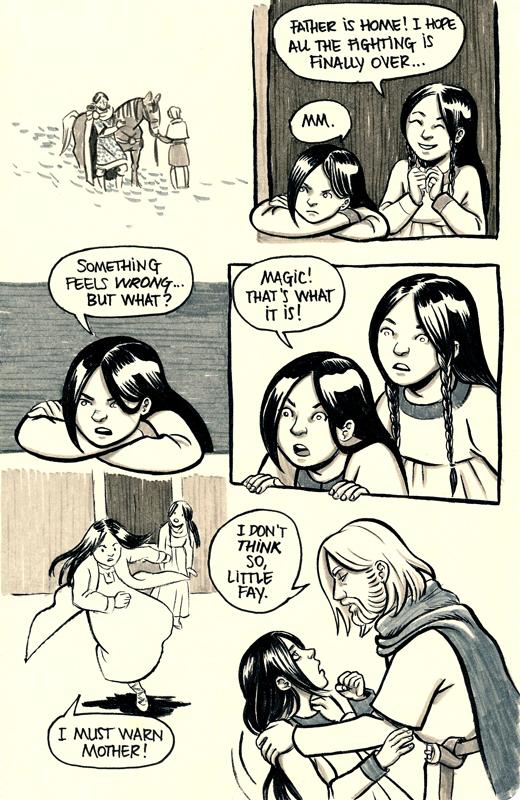Morgause and Morgana watch Gorlois arrive at Tintagel. Morgana senses magic at work.