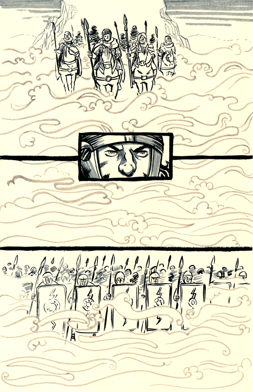 Gorlois and his men leave Terrabil in a heavy mist