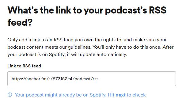 insert rss feed ke spotify