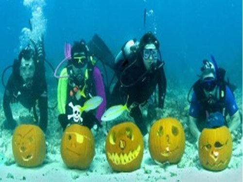 Halloween Destinations: Underwater Pumpkin Carving, Halloween Key West, Florida