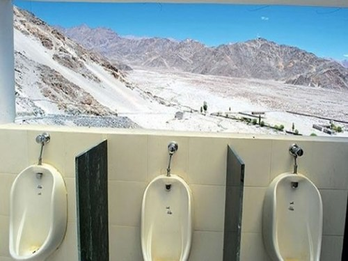 Amazing Views: Loo located just outside the Thiksey Buddhist Monastery, Ladakh, India