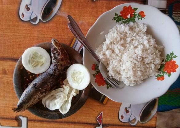 seporsi nasi hangat dan ikan layang