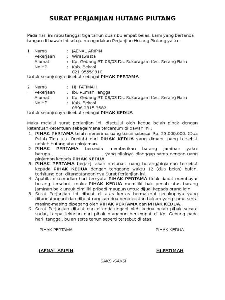 Kreatif Contoh Surat Perjanjian Uang 38 Di Ide Menulis Surat Perjanjian di post Contoh Surat Perjanjian Uang